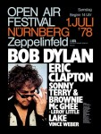 Bob Dylan and Eric Clapton Nuremberg Germany Concert Poster (1978).
