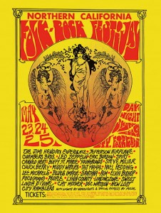 Sixties - Northern California Folk-Rock Festival Concert Poster, Featuring Jimi Hendrix, Led Zeppelin, etc. (1968