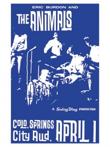 Sixties - Eric Burdon and the Animals at the Colorado Springs City Auditorium concert poster (1966)