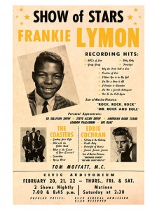 Fifties - Eddie Cochran, Frankie Lymon, The Coasters Civic Auditorium Concert Poster (1958)