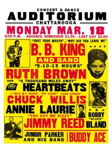 Blues - BB King - Ruth Brown - Chattanooga Auditorium Concert Poster (1957)