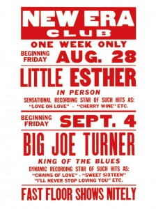 Blues - Big Joe Turner - Little Esther - New Era Club Concert Poster (1953)