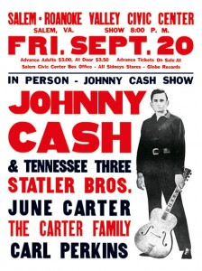 Johnny Cash - Salem-Roanoke Valley Civic Center Concert Poster (1968)