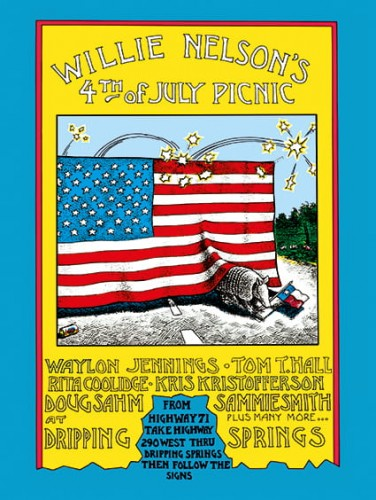"Willie Nelson's Fourth of July Picnic (1973). Concert Poster (11"" X 16"").jpg"