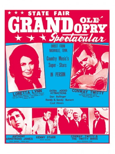 "Grand Ole' Opry Spectacular with Loretta Lynn and Conway Twitty (Unknown, 1960s). Concert Window Card (14"" X 22"")..jpg"